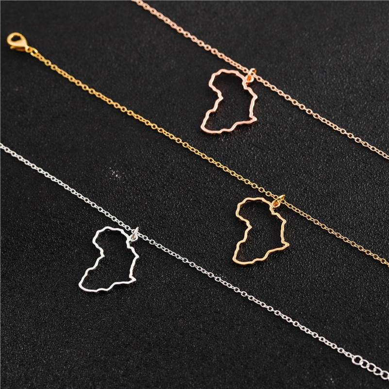 Africa Shaped Pendant Necklace Necklaces cb5feb1b7314637725a2e7: Gold|Rose Gold|Silver