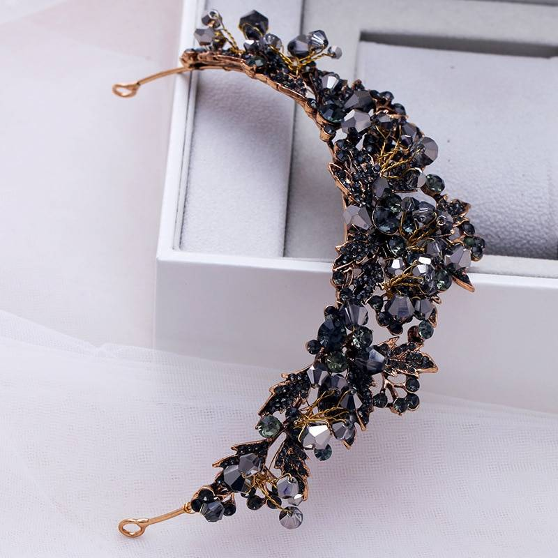 Black Rhinestone Design Gold Tiara Hair Jewelry
