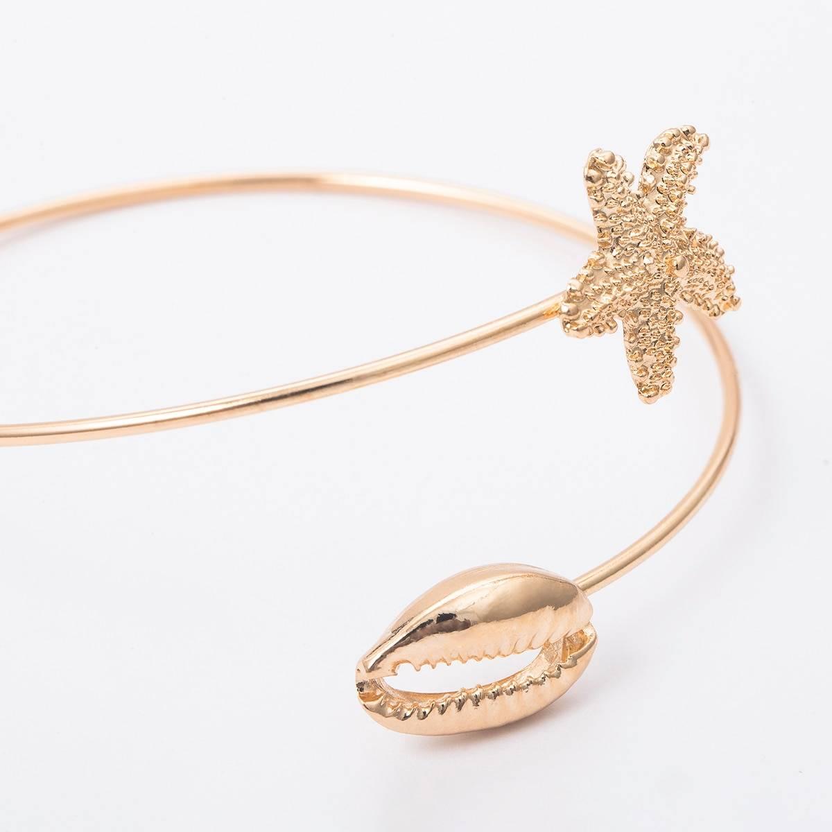 Bohemian Gold Color Starfish / Shell Arm Bangle for Women Body Jewelry cb5feb1b7314637725a2e7: Gold