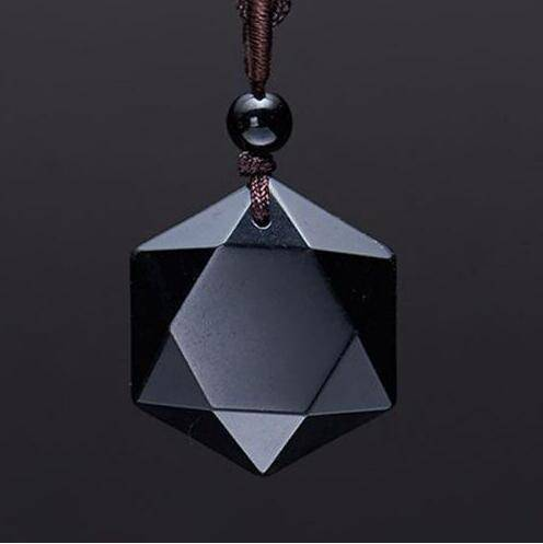 Charming Geometric Black Obsidian Women's Pendant Necklaces