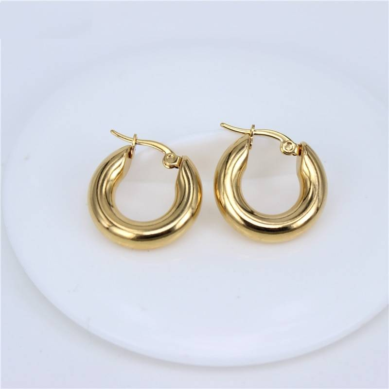 Classic Design Smooth Stainless Steel Earrings Earrings a559b87068921eec05086c: Gold L|Gold M|Gold S|Silver L|Silver M|Silver S