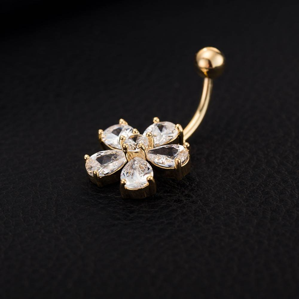 Clear CZ Crystal Flower Shaped Steel Button Ring for Women Body Jewelry 8d255f28538fbae46aeae7: Gold