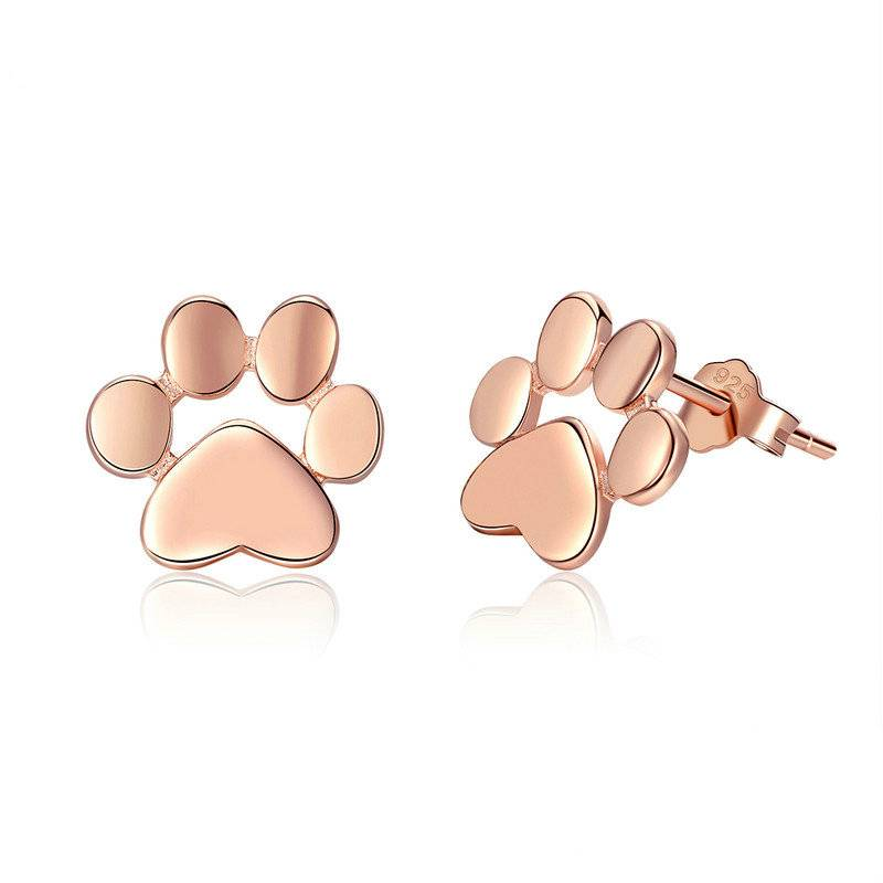 Cute Silver Paw Stud Earrings Earrings 8703dcb1fe25ce56b571b2: Black|Gold Color|Rose Gold Color|Silver|White