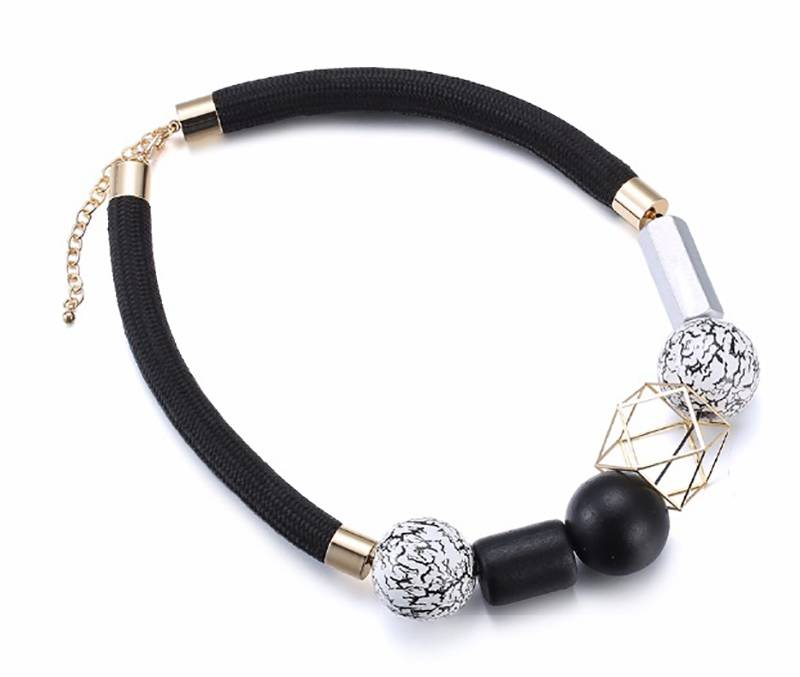 Elegant Geometric Collar Necklace Necklaces 2e1fb300b1b000f0ed9b9a: Black