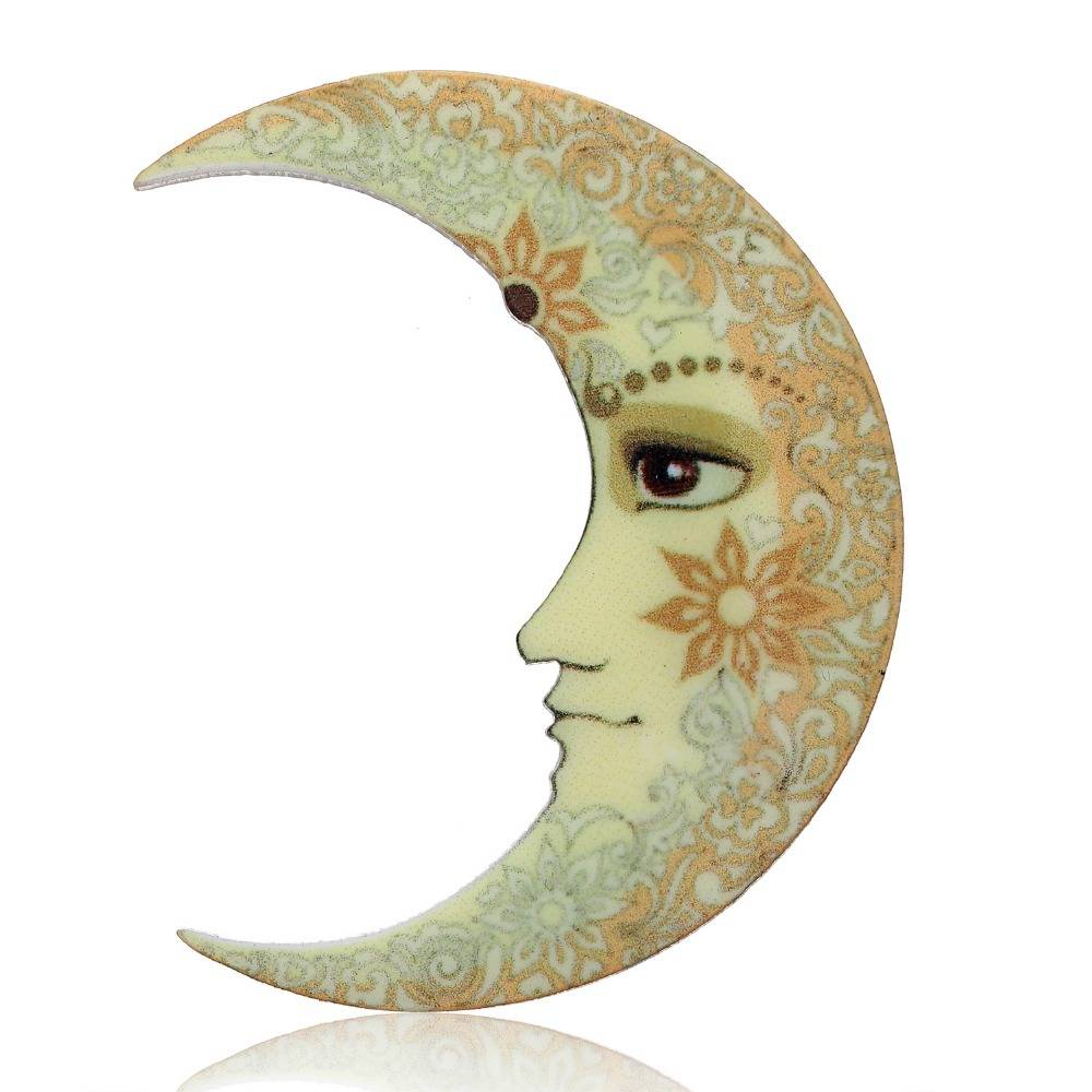 Ethnic Sun and Moon Acrylic Brooches Brooches ae284f900f9d6e21ba6914: Moon|Sun