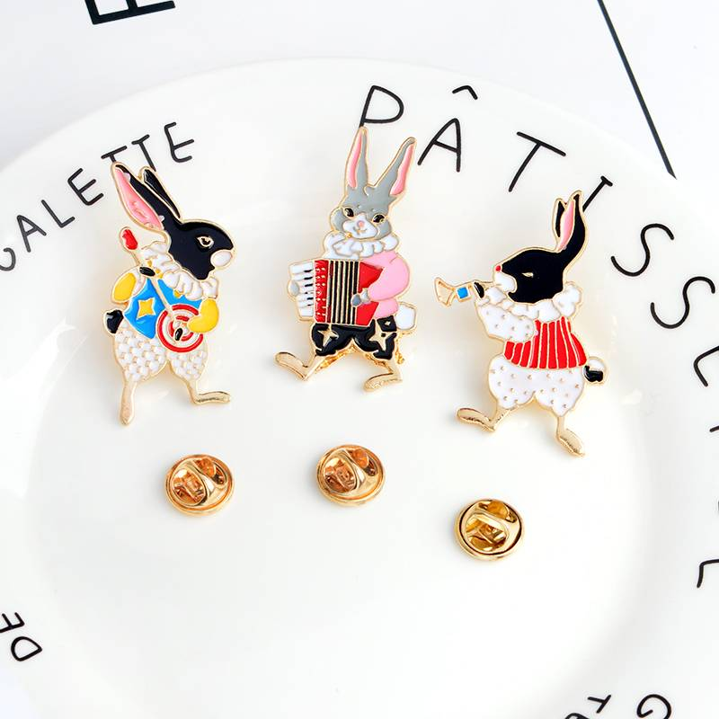 Funny Musician Rabbit Pins and Brooches Brooches cb5feb1b7314637725a2e7: Accordion|Banjo|Trumpet