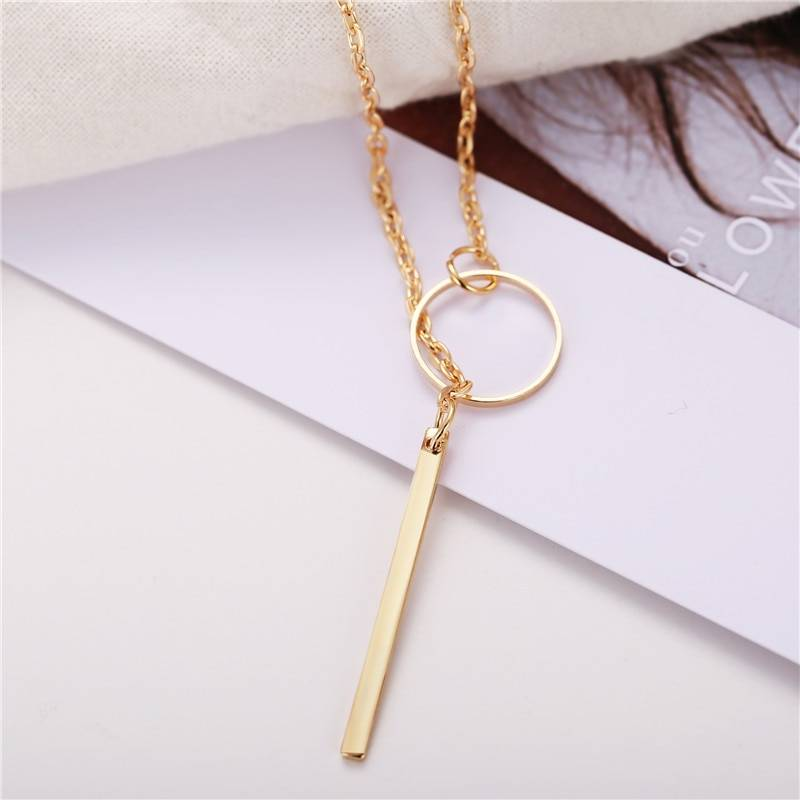 Geometric Shaped Pendant Necklace Necklaces cb5feb1b7314637725a2e7: Gold Silver