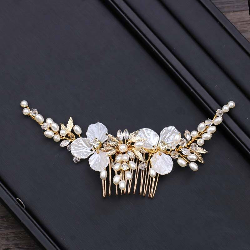 Golden Crystal Side Comb Hair Jewelry cb5feb1b7314637725a2e7: Gold