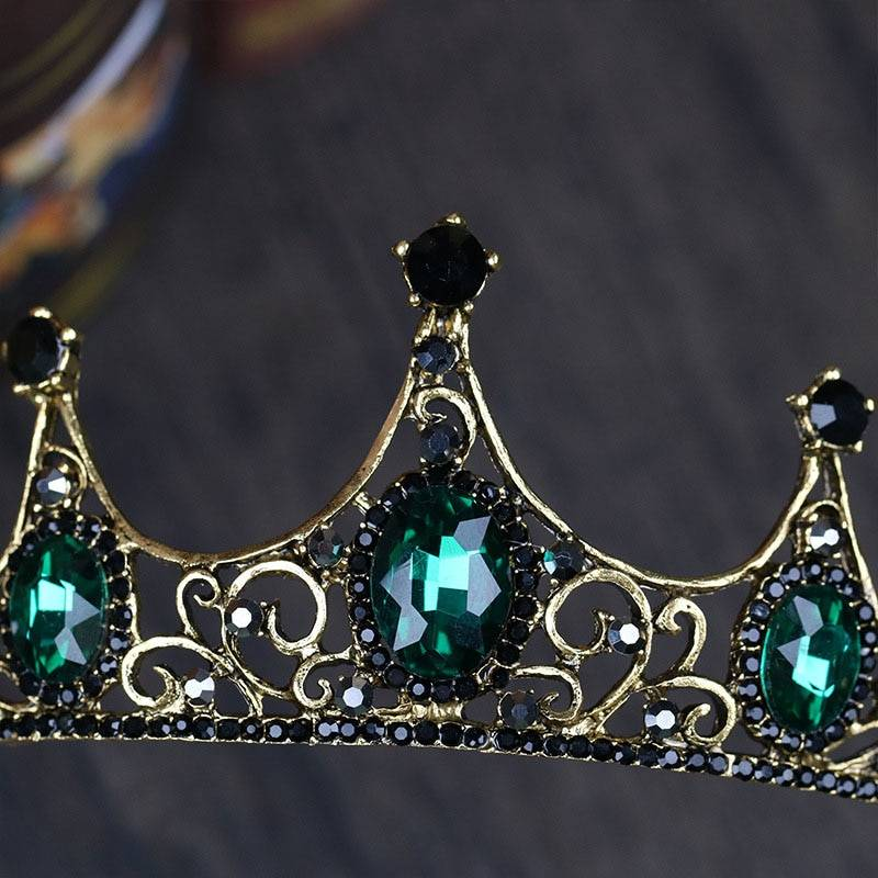 Green Crystals Design Princess Crown Hair Jewelry cb5feb1b7314637725a2e7: Gold / Green