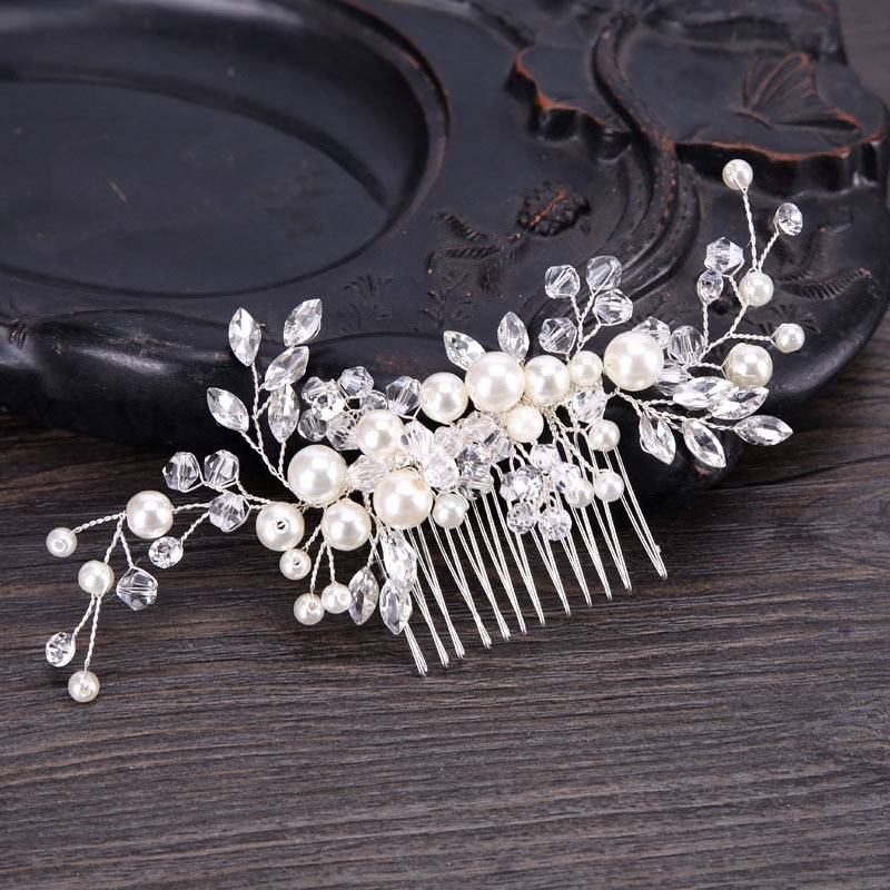 Handmade Pearls Design White Side Comb Hair Jewelry cb5feb1b7314637725a2e7: White