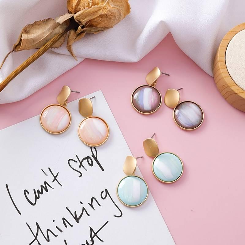 Korean Style Round Dangle Earrings for Women Earrings cb5feb1b7314637725a2e7: Blue|Brown|Yellow