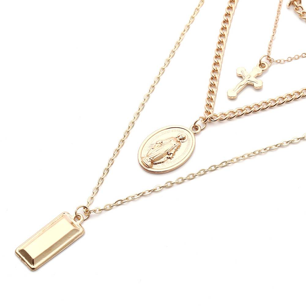 Layered Chain Necklace with Pendants Chokers & Pendants 8d255f28538fbae46aeae7: Gold Color|Silver Plated