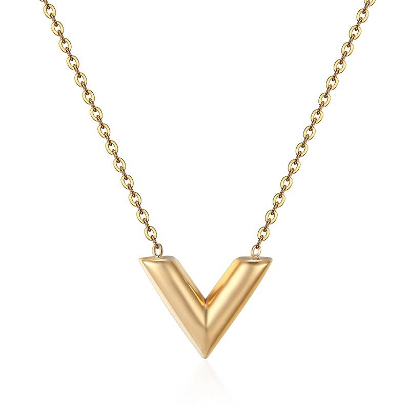 "Minimalist Women's Necklace with ""V"" Shaped Pendant Necklaces 8d255f28538fbae46aeae7: Gold