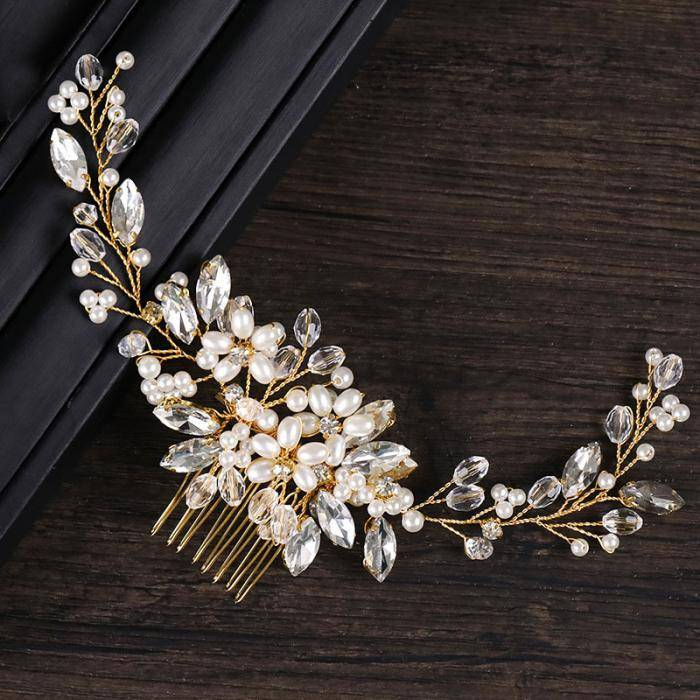 Pearl Golden Side Comb for Women