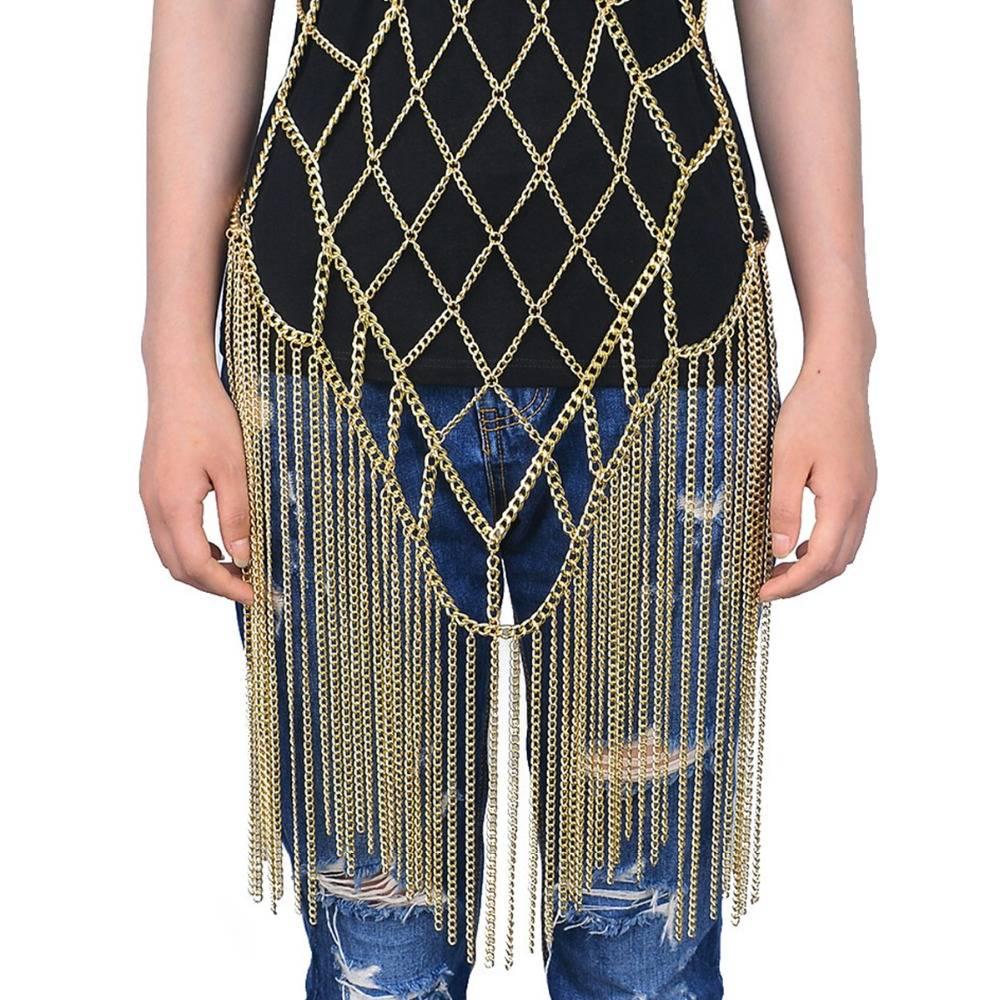 Retro Body Chain Harness Body Jewelry 8d255f28538fbae46aeae7: Gold|Silver