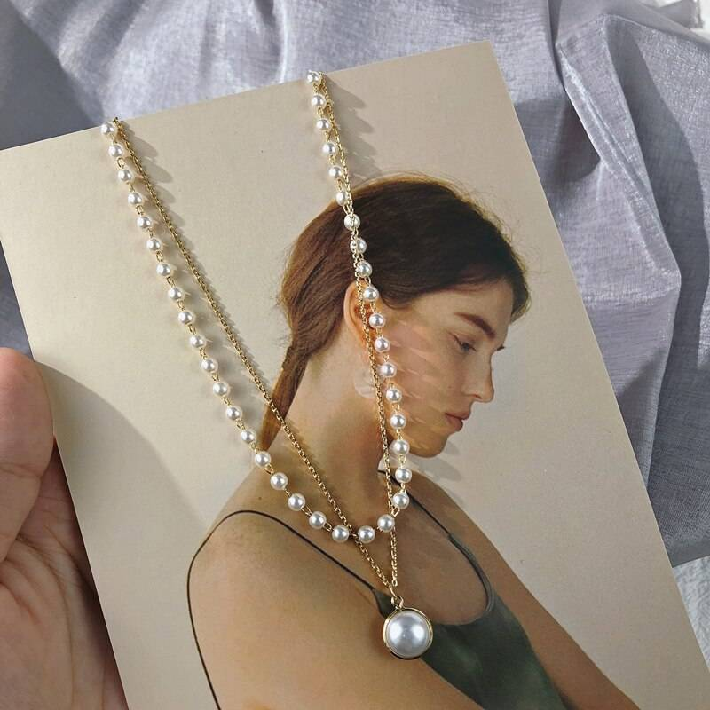 Retro Pearls Choker for Women Necklaces 8d255f28538fbae46aeae7: Gold