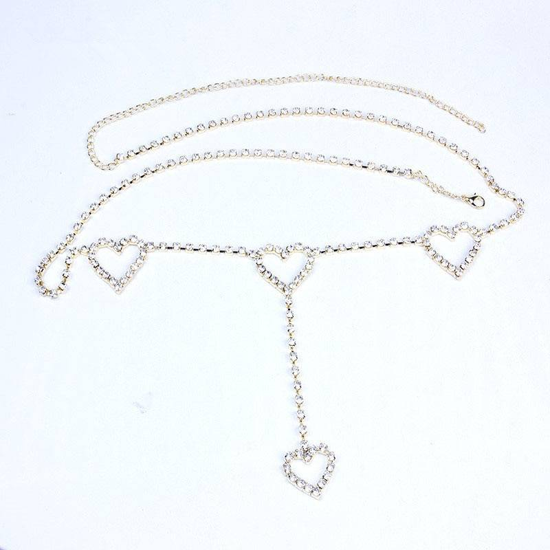 Rhinestone Patterned Waist Chain with Hearts Body Jewelry 8d255f28538fbae46aeae7: Gold|Silver