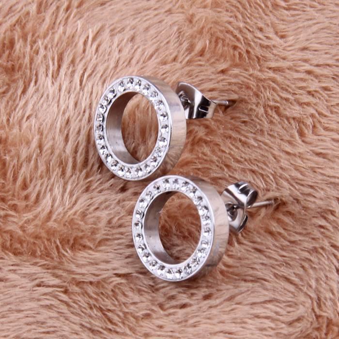 Round Crystal Stud Earrings Earrings cb5feb1b7314637725a2e7: Silver