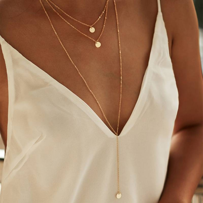 Round Multilayer Chain Necklaces Necklaces 8d255f28538fbae46aeae7: Gold|Silver
