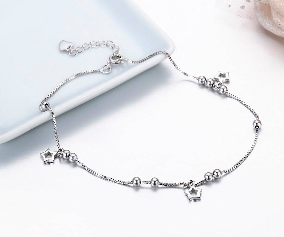 Silver Anklet with Star Charms Charms