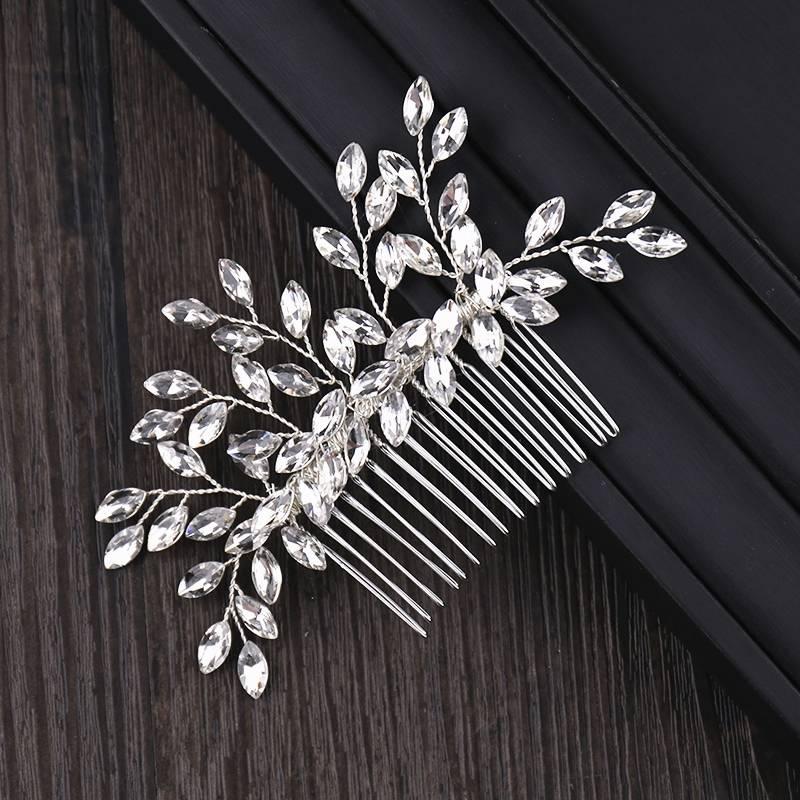 Silver Rhinestone Side Comb Hair Jewelry cb5feb1b7314637725a2e7: Silver