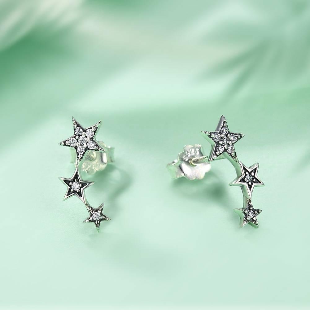 Sparkling Star Silver Women's Climber Earrings Earrings a1fa27779242b4902f7ae3: SCE175|SCE291|SCE292