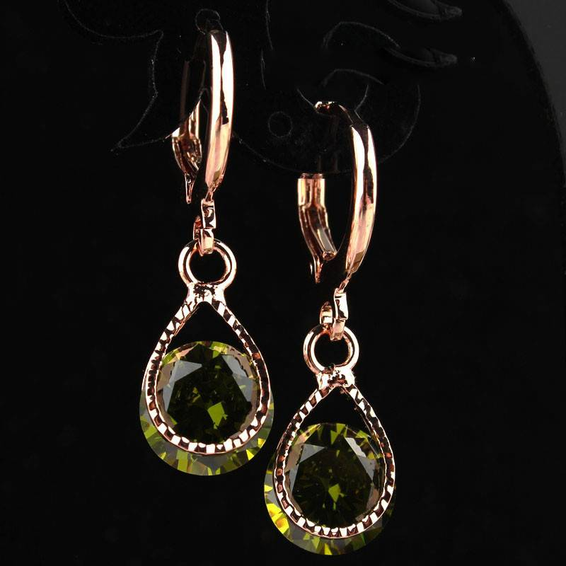 Trendy Water Drop Crystal Earrings For Women Earrings cb5feb1b7314637725a2e7: Black|Blue|Champagne|Green|Pink|Purple|Red|White