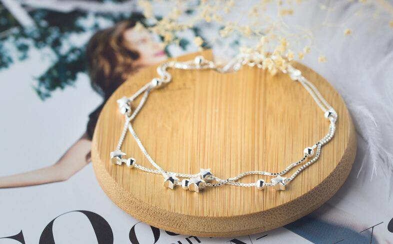 Two-Layers Silver Anklet Anklets