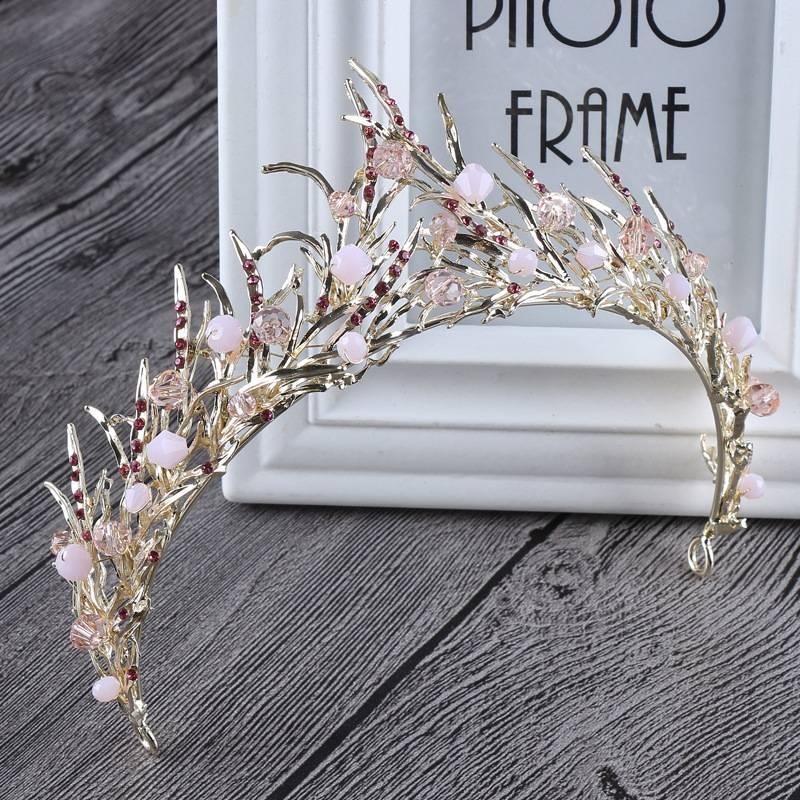 Vintage Gemstone Zinc Tiara Crown Hair Jewelry cb5feb1b7314637725a2e7: Black Gold|Black Silver|Pink Gold|White