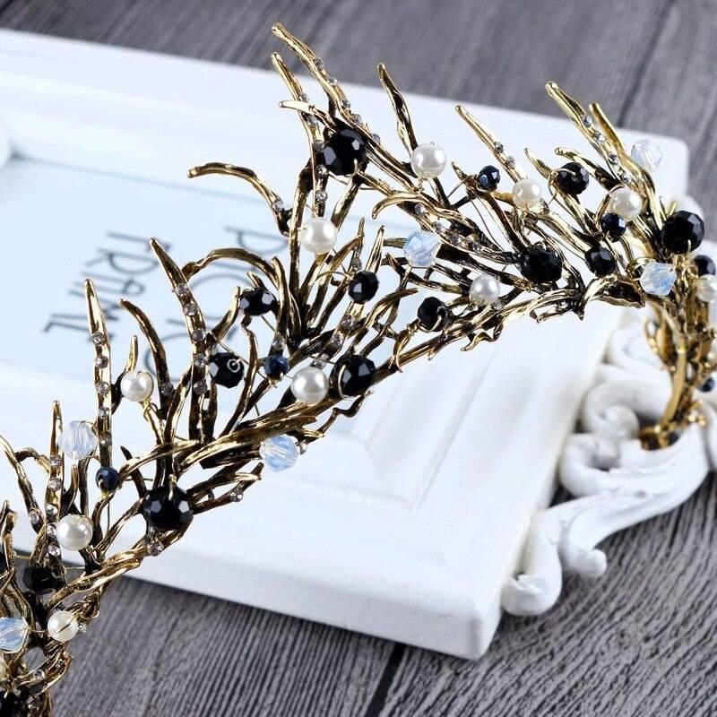 Vintage Gemstone Zinc Tiara Crown