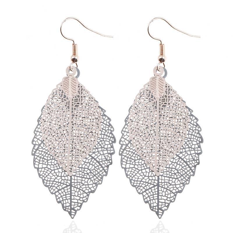 Vintage Leaf Shaped Dangle Earrings Earrings cb5feb1b7314637725a2e7: Blue Color Gold Silver Gold/Black Pink