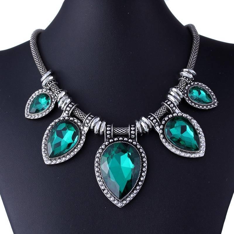 Vintage Necklace for Women with Gemstone Pendants Chokers & Pendants cb5feb1b7314637725a2e7: Dark Blue Green Grey Peacock Blue White