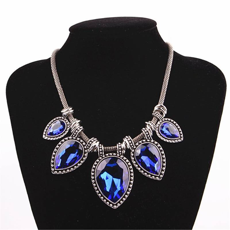 Vintage Necklace for Women with Gemstone Pendants Chokers & Pendants cb5feb1b7314637725a2e7: Dark Blue|Green|Grey|Peacock Blue|White