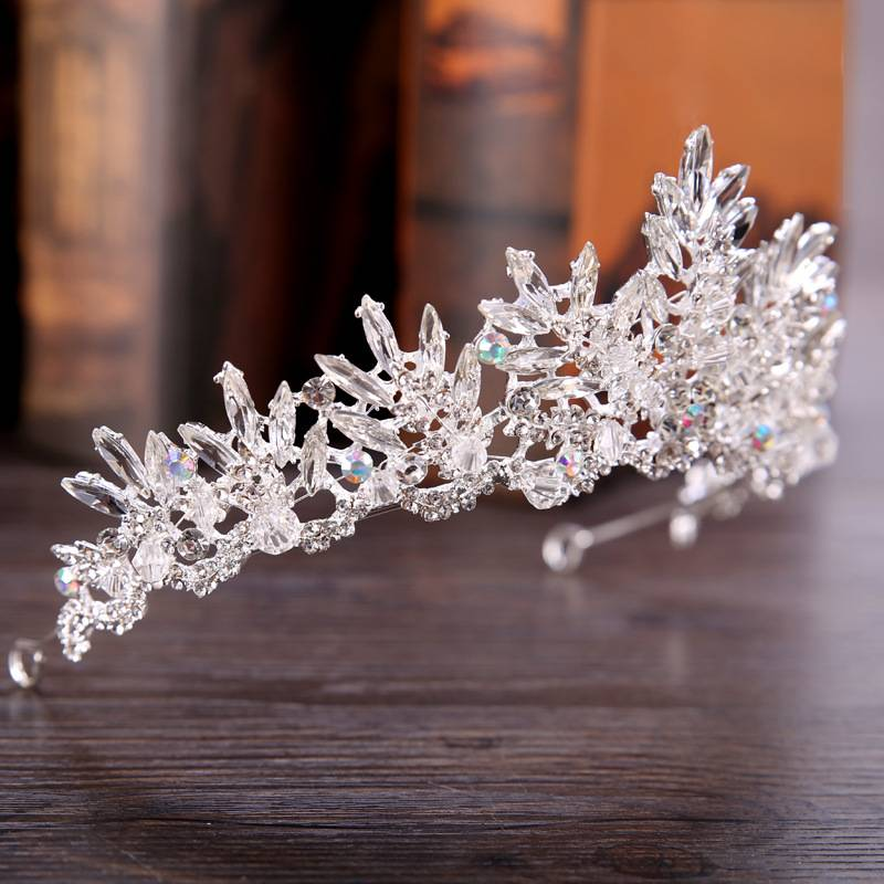 Vintage Style Rhinestone Decorated Crown for Women Hair Jewelry cb5feb1b7314637725a2e7: Black|Black/White|Clear|White