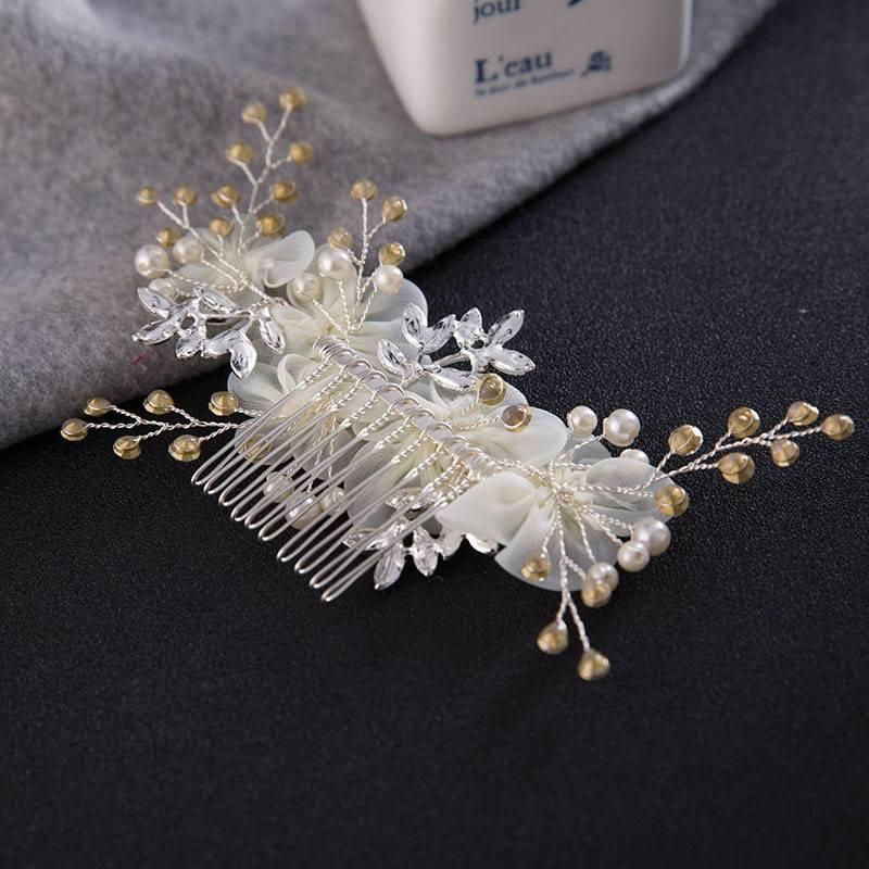 White Fabric Flowers Design Hair Comb Hair Jewelry cb5feb1b7314637725a2e7: White