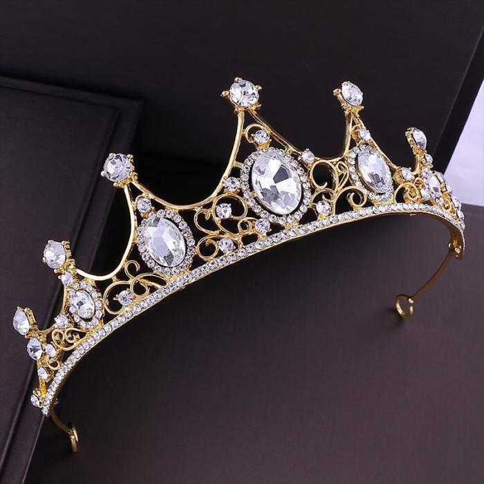 White Rhinestone Design Golden Tiara