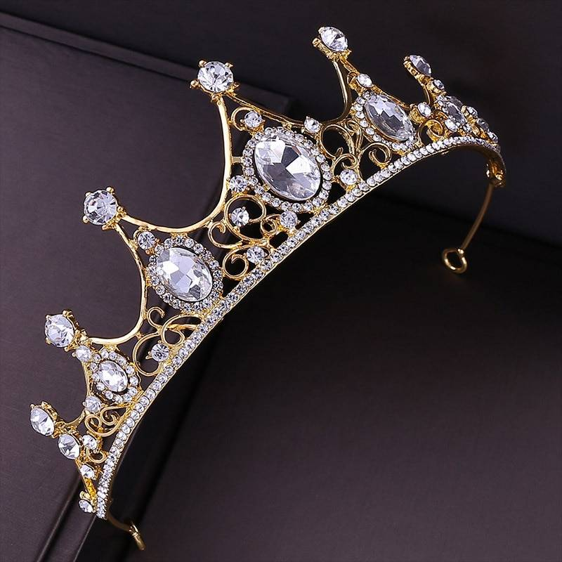 White Rhinestone Design Golden Tiara Hair Jewelry cb5feb1b7314637725a2e7: Gold