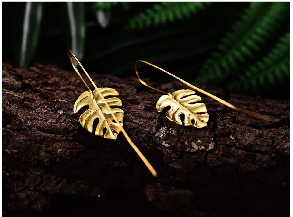 Women's 925 Sterling Silver Tropical Leaf Earrings Earrings 8d255f28538fbae46aeae7: Gold|Silver