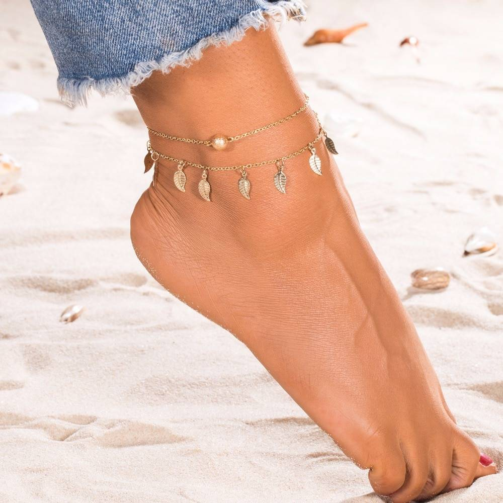 Women's Boho Double Layered Anklet Anklets 8d255f28538fbae46aeae7: Gold|Silver