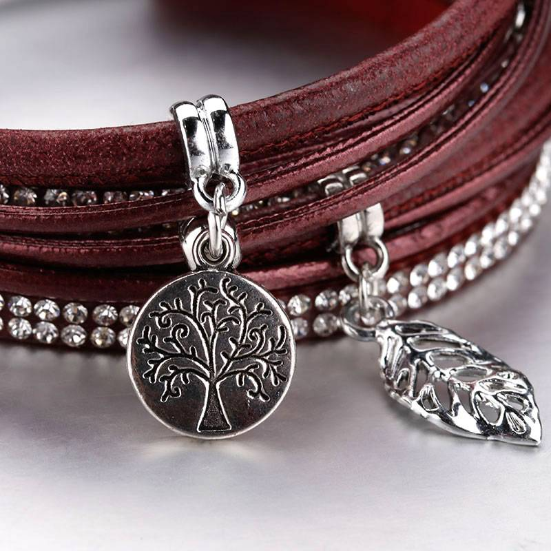 Women's Boho Multilayered Wrap Bracelet with Charms Charms cb5feb1b7314637725a2e7: Black|Gray|Red|Silver