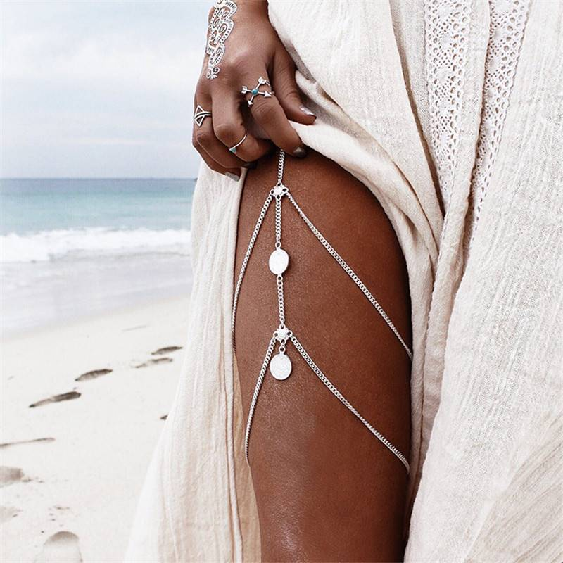 Women's Boho Style Double Layer Leg Chain Body Jewelry 8d255f28538fbae46aeae7: Gold|Silver