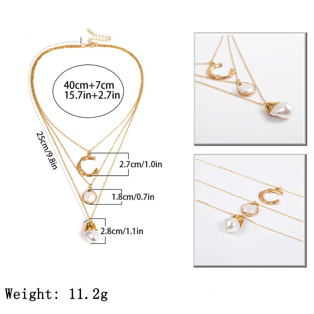 Women's Boho Style Multi-Layer Pearl Necklace Necklaces 8d255f28538fbae46aeae7: Gold