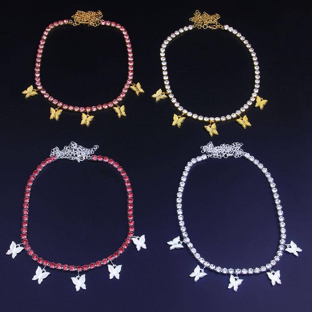 Women's Crystal Choker with Butterfly Pendants Chokers & Pendants 8d255f28538fbae46aeae7: Gold Pink|Gold White|Silver Pink|Silver White