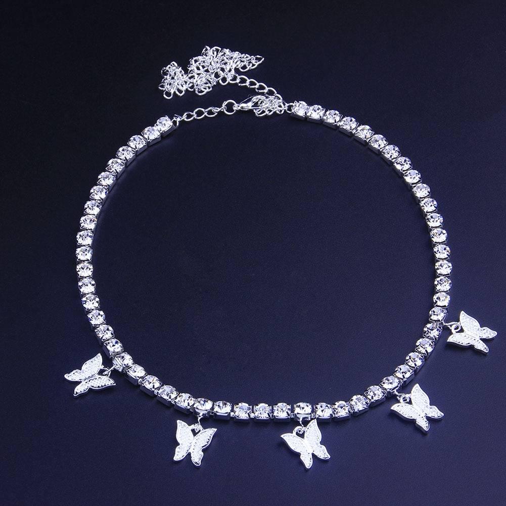 Women's Crystal Choker with Butterfly Pendants