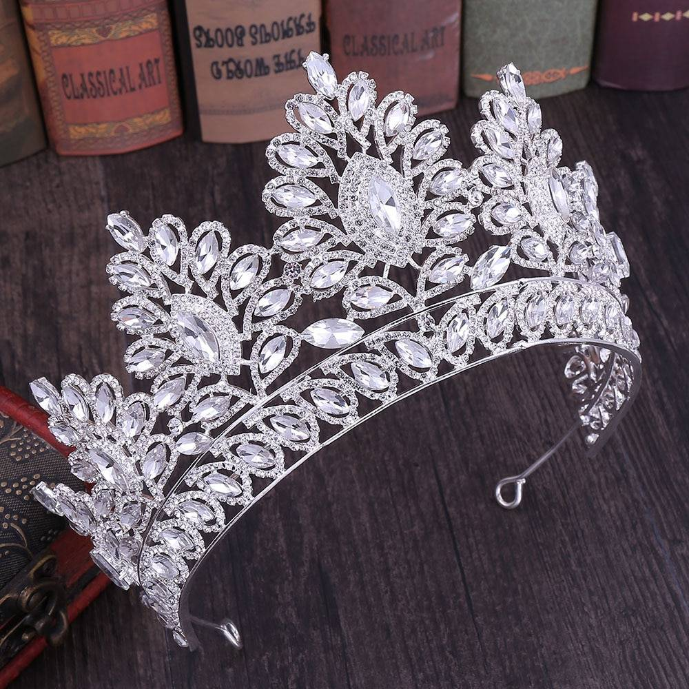 Women's Crystal Floral Shape Tiara Hair Jewelry 8d255f28538fbae46aeae7: Blue|Champagne|Gold|Green|Red|Rose Gold|Silver