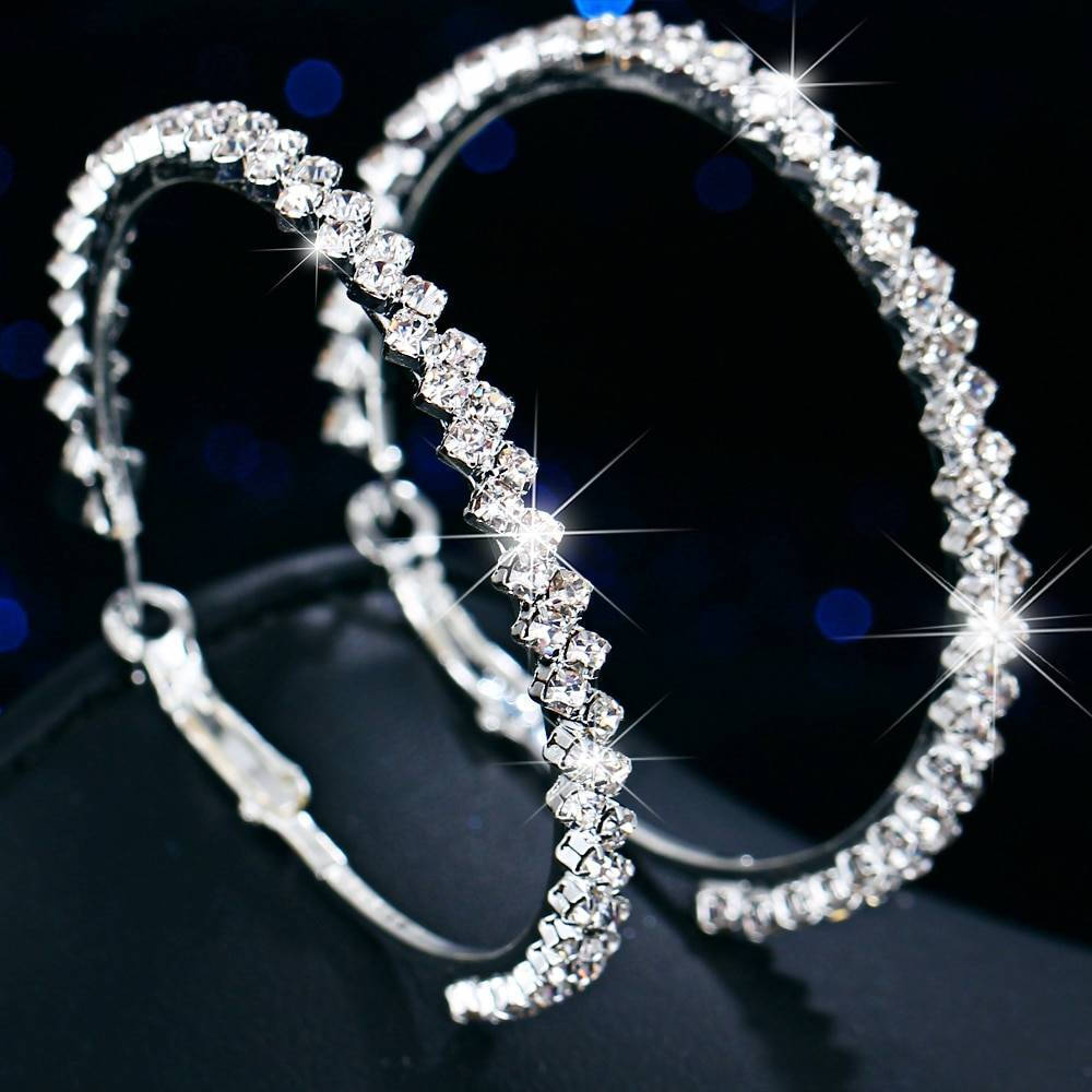 Women's Crystal Hoop Earrings Earrings a4a426b9b388f11a2667f5: 42mm|52mm