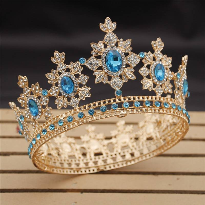 Women's Crystals Decorated Tiara Hair Jewelry 8d255f28538fbae46aeae7: Gold / Blue|Gold / Green|Gold / Red|Gold / Sky Blue|Gold / Yellow|Gold Pink|Gold White|Red