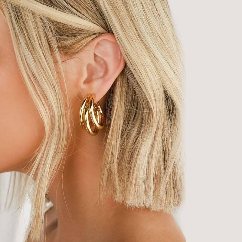 Women's Fashion Round Hoop Earrings Earrings 8d255f28538fbae46aeae7: Gold|Silver