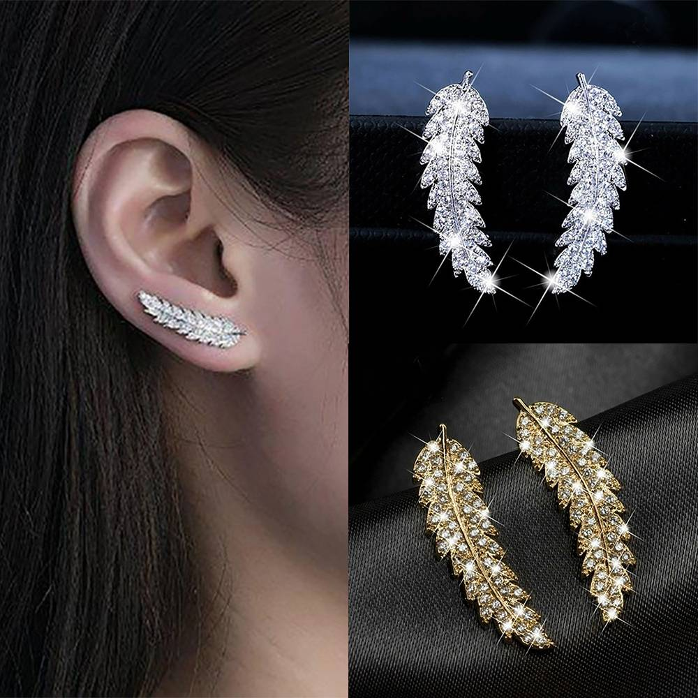 Women's Feather Shaped Stud Earrings Earrings 8d255f28538fbae46aeae7: Gold|Silver