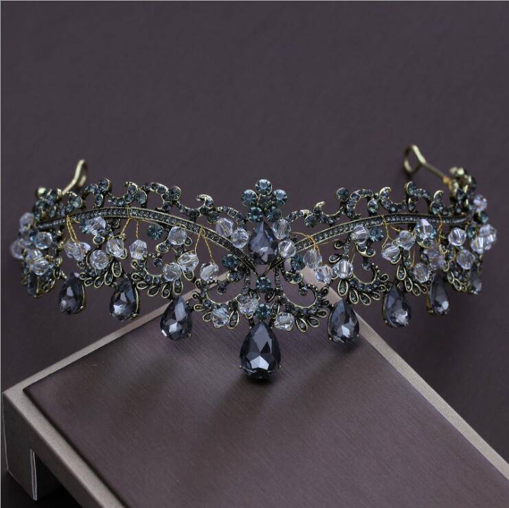 Women's Golden Crown with Blue Crystals Hair Jewelry